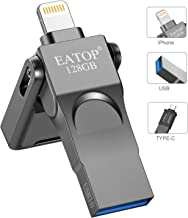 USB Flash Drive 128GB Photo Stick for iPhone, iPhone Flash Drive with 3 Ports, EATOP iPhone Memory Stick Compatible for iPhone/iPad/Android and Computer, The Photo Stick with OTG Adapter - 128GB Gray