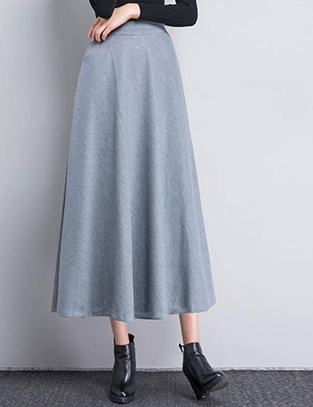 Lentta Womens Casual High Waist A-Line Midi Wool Blend Pleated Flared Swing Skirts