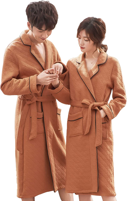 Couple Models Warm Cotton 100% Plush Soft Warm Lapel Collar Shawl Bathrobe Big and Tall