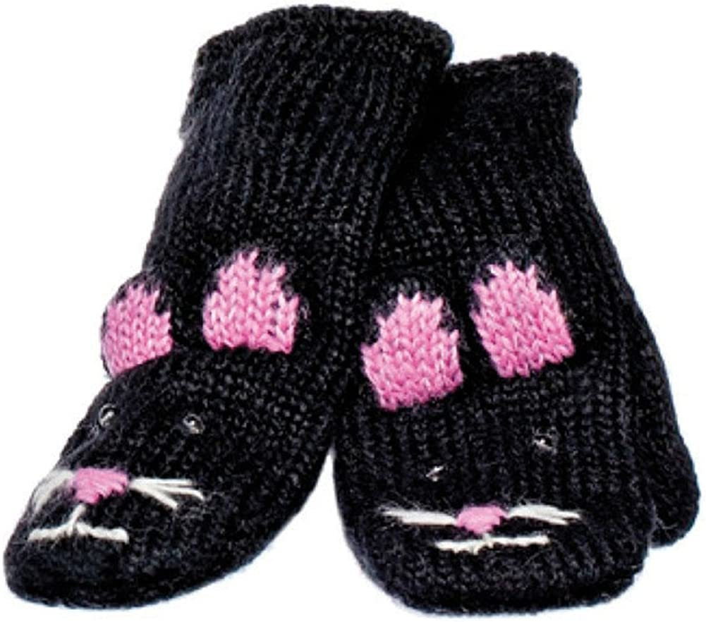 Knitwits Kids Mittens, Gloves | Wool, Kitty, Warm, Boys/Girls, Toddler, Cute, Black, Pink