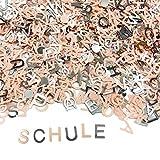 Oblique Unique® ABC Alphabet Buchstaben Konfetti Streudeko Streuteile Tisch Deko für Schuleinführung Einschulung Geburtstag Jubiläum Feier Party - Lachsfarben Silber