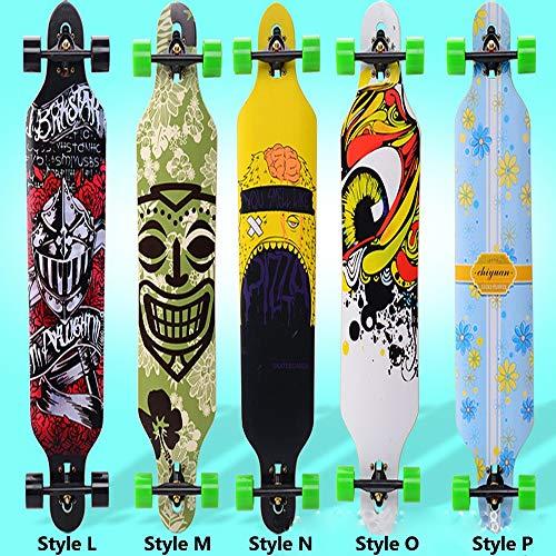 Skateboard longboard, Adulti Bambini Skateboard, Tavola completa con ABEC-11 Bearing Maple Deck Robusto Skateboarding con Doodle Pattern carico 200 KG per principianti Ragazzi e professionisti,StyleP