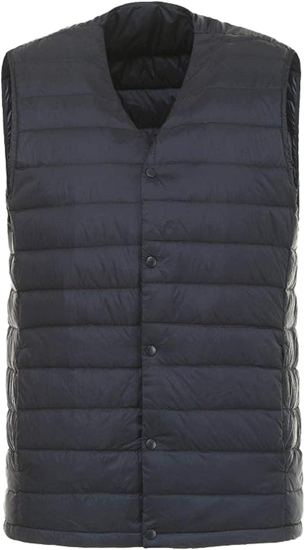 IGJMOD Men Down Vest Ultra Light Down Vest Portable V-Neck Coat Man Winter Warm Liner Navy XL