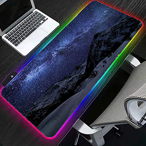Gaming Mouse Pads Snow Mountain Starry Sky Milky Way RGB Mouse Pad XXL LED Light Up Mouse Mat with Non-Slip Rubber Base for PC Game-700x300 MM,Color A