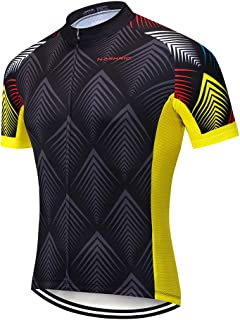 NASHRIO Men's Cycling Jersey Short Sleeve Road Bike Biking Shirt, Full-Zip Tops Bicycle Clothes - Breathable and Quick-Dry with 3 Pockets
