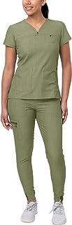 Adar Pro Heather Movement Booster Scrub Set For Women - Sweetheart V-Neck Scrub Top & Yoga Jogger Scrub Pants