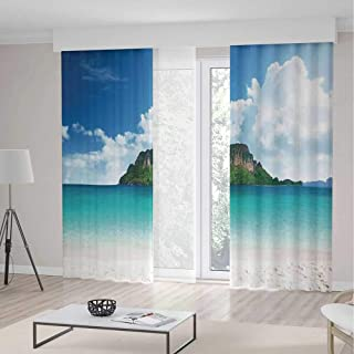 C COABALLA Windows Blackout Curtain TT02 Ocean Island Decor Living Room Bedroom Curtain Poda Island in Thailand South Asian 2 Panel Set 236W x 106LInches