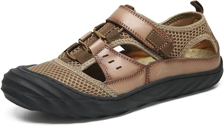 HAOYUXIANG Men's Sandals casual beach shoes leather baotou sandals fashion Tide hundred sandals (color   Khaki, Size   42)