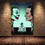 wojinbao Joaquin Phoenix Poster druckt Joker Poster Filmkunst Leinwand Ölgemälde Wandbilder für...