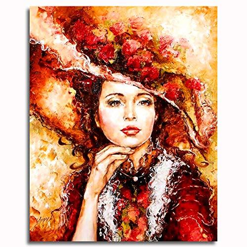 Pintar por números para Adultos y niños Kits de Regalo de Pintura al óleo DIY -Mujer con Sombrero 16 * 20 Inch