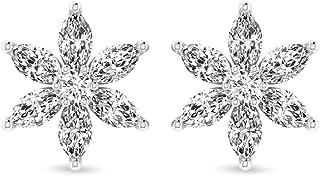 0.66 Carat IGI Certified Diamond Cluster Flower Earring, Tiny Marquise Round IJ-SI Diamond Floral Stud Earrings, Minimal Bridal Wedding Earrings Gifts, Screw Back