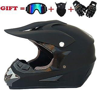 <h2>Erwachsene MX ATV Offroad Helm DOT Dirt Bike Motocross Roller Dual Sport Enduro Motorradhelme Verteilung Cross Country Handschuhe Brille Und Maske 4 Stück Set,L59~60cm</h2>