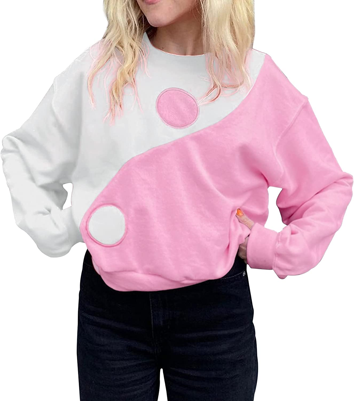 Meladyan Women Y2K Colorblock Oversized Sweatshirt Taiji Print Long Sleeve Crewneck Drop Shoulder Pullover Jumper Top