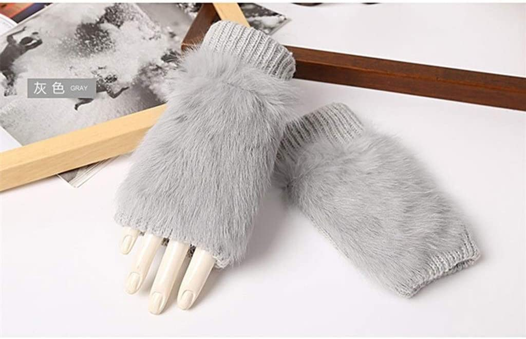 YYOBK SHt Mittens Plush Gloves, Cute Winter Warm Half-Finger Gloves, Ladies Gloves Mittens to Keep Warm (Color : Grey)