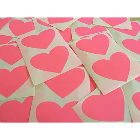 40 Self-Adhesive Colour Code Stickers 50x37mm Magenta Fluorescent Bright Pink Heart Shaped Labels Sticky Hearts for Craft and Decoration