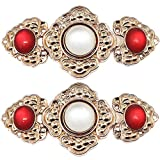 Vintage Chinese Style Cape or Cloak Clasp Fastener Decorative Sew On Hooks and Eyes Cardigan Clip DIY Clothing Sewing Light Gold Plum Blossom Two Bright Red Middle White Diamon Zinc Alloy (5Set)