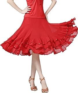 Z&X Women's Ballroom Dancing 360 Degree Long Swing Latin Salsa Rumba Flamenco Dance Skirts for Practice
