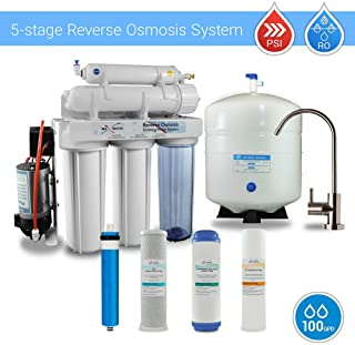 MAX WATER USA Inc. 5 Stage Reverse Osmosis System with Booster Pump 100 GPD Modern Brushed Nickel