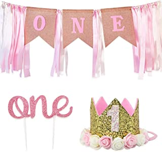 3 Pieces Set 1st Birthday Boy Decorations Burlap Highchair Banner Cake Topper Hat Crown for First Birthday Party (Pink)