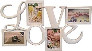 Lalia Photo Frame Collage 4 Photos Love 60x35cm, ser Querido, para Bodas, cumpleaños, Blanco, plástico, romántico 4 Fotos. Marco