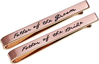 Father of The Groom Father of The Bride Gifts Tie Clip Wedding Tie Clip Set Stainless Steel Tie Bar Wedding Party Day Present for Man