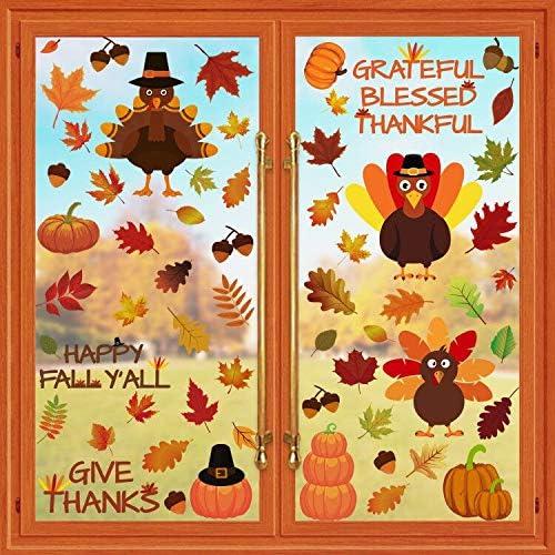 Cokoka Thanksgiving Decorations Window Decor Max 83% OFF Large Popular brand Clings Extra