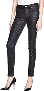 7 For All Mankind Women's Mid Rise Skinny Embroidered Black Double Knit