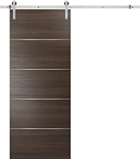 Barn Sliding Brown Door 36 x 84 with Stainless Steel Hardware | Planum 0020 Chocolate Ash | Rail 6.6FT Hangers Silver Set | Closet Modern Solid Core Flush Panel