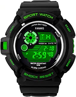 Fanmis S-Shock Multi Function Digital LED Quartz Watch Water Resistant Electronic Sport Watches Green