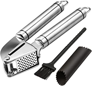 Noosa Life   Garlic Press + Peeler   Best Professional Stainless Steel Garlic Mincer   User-Friendly, Easy To Clean And Hi...
