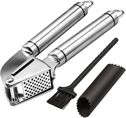 Noosa Life | Garlic Press + Peeler | Best Professional Stainless Steel Garlic Mincer | User-Friendly, Easy To Clean And Highly Durable | Silicone Tube Peeler + Cleaning Brush Included | Show The Garlic and Ginger Who's The Boss!