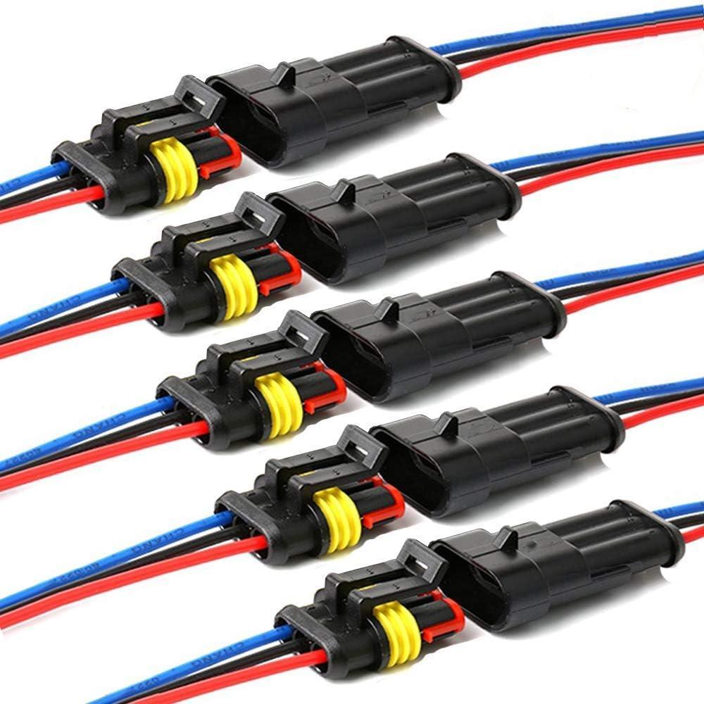 YETOR Conector de Cable Enchufe Impermeable,Conector Macho de 2 Pines Conectores eléctricos con Cable 16 AWG Marine para Conexiones de automóviles, ...