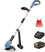 Handife Cordless 20V Grass Trimmer and Edger, Cutting Diameter 26cm, with 4.0Ah Large Capacity Battery 20 pcs Plastic Blad...