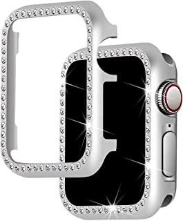 Falandi for Apple Watch Case 40mm, Series 4 Apple Watch Face Case with Bling Crystal Diamonds Plate iWatch Case Cover Protective Frame for Apple Watch 38mm Series 3/2/1 (Silver-Diamond, 40mm)