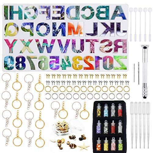 MAEKIJOY Set di 247 stampi in resina epossidica, in resina, a forma di alfabeto, per fai da te, fai da te, portachiavi, numero civico