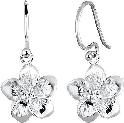 Elli Boucles d'Oreilles Frangipani Blüten Kristalle 925 Silber