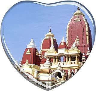Hqiyaols Souvenir India Birla Mandir Hyderabad Refrigerator Magnet Heart-shaped Crystal Fridge Magnet Sticker Travel Gift Collection Souvenir