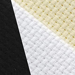 "KCS 12"" x 18"" by 3 Pack 14CT Counted Cotton Aida Cloth Cross Stitch Fabric (White+Cream+Black)"