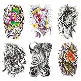 Oottati 6 Sheets 21x15cm Old School Koi Carp Lucky Fish Arm Leg Fake Temporary Tattoos Stickers