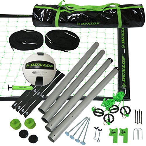 DUNLOP Outdoor Sports Volleyball Set: Portable Net with Poles, Ball & Air Pump - Equipment for Backyard Party Games - Adjustable Height for Adults or Kids