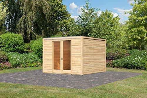 Unbekannt Karibu Gartenhaus Cubus Front 1 naturbelassen 28 mm