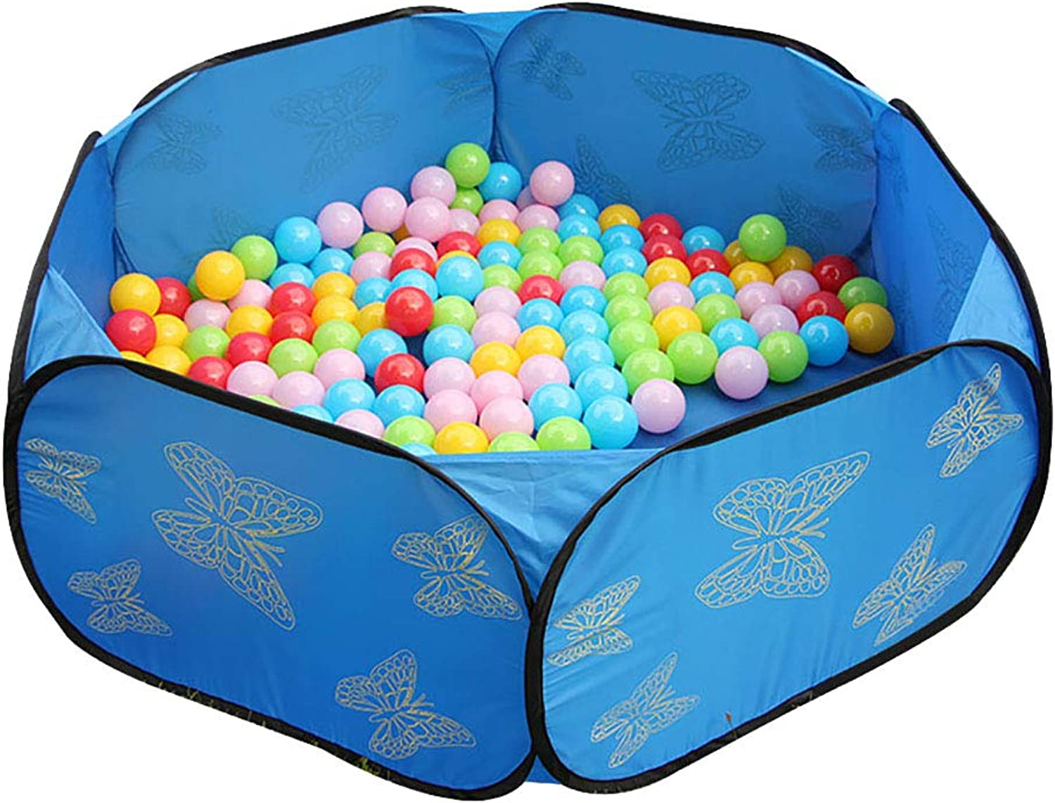 bluee Baby Playpen, Folding Hexagon Ball Pit, Kids Activity Centre Safety Play Yard (color   With 20 balls)