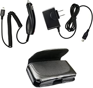 Fenzer Black Travel Auto Car Home Wall Charger Leather Case Pouch for Motorola v3 v3a v3c v3e v3i v3m v3r v3s v3t v3xx ve10 w385 w490 w510 w5 w755 z3 z6tv RIZR