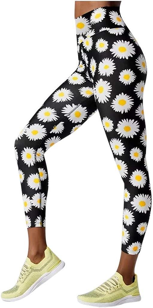 Dunacifa High Waisted Leggings for Women, Tummy Control Hip Butt Lifting Sunflower Printed Yoga Pants Workout Gym Tights