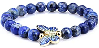 Gem Stone King 8mm Simulated-Lapis Lazuli Sterling silver Cloisonne Enamel Butterfly Bracelet