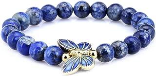 8mm Simulated-Lapis Lazuli Sterling silver Cloisonne Enamel Butterfly Bracelet