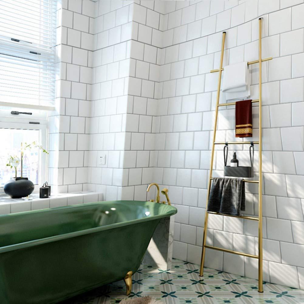 M-TOP Toallero Escalera peldaño Negro, Toallero Escalera de Metal Inoxidable, toallero de pie baño en Escalera con 6 peldaños, toallero Barra Acero Inoxidable sin taladrogold: Amazon.es: Hogar