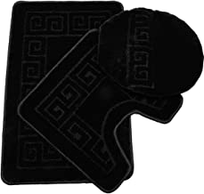 Pauwer 3 Piece Bath Rug Set Pattern Bathroom Rug 28.4x17.7/Contour Mat 17.7x17.7/ Lid Cover (Black)