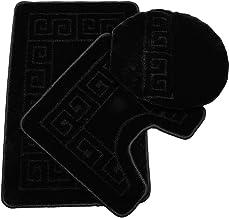 Pauwer 3 Piece Bath Rug Set Pattern Bathroom Rug 28.4x17.7/Contour Mat 17.7x17.7/ Lid Cover (Black)