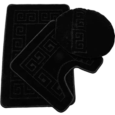 Pauwer 3 Piece Bath Rug Set Pattern Bathroom Rug 28.4 x17.7 /Contour Mat 17.7 x17.7 / Lid Cover (Black)